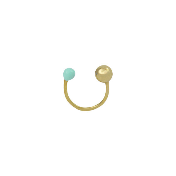 moon ring gold plated enamel