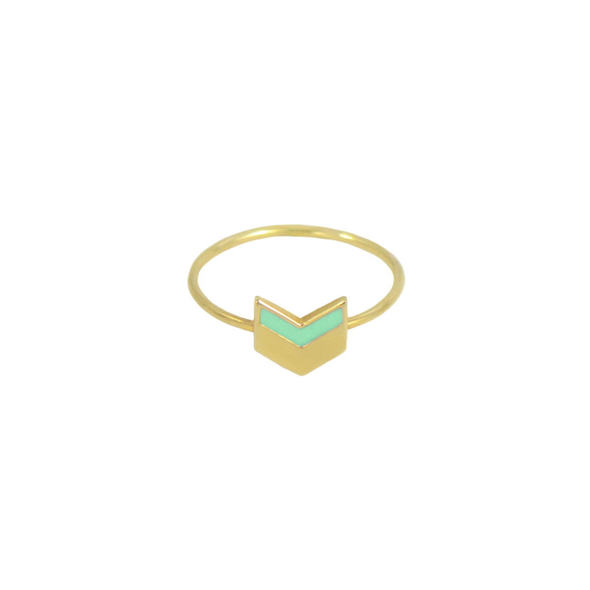 chevron ring gold mint