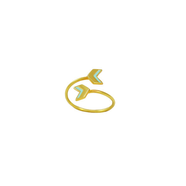 double chevron ring gold mint