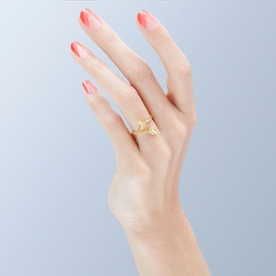 double chevron ring gold pink worn