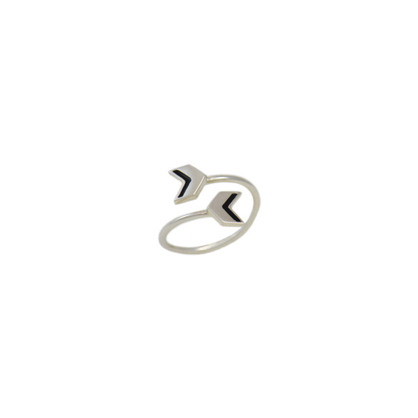 double chevron ring silver blk
