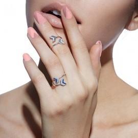 double chevron ring silver worn