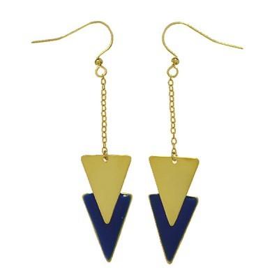 double triangle earrings gold blue