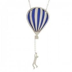 hot air balloon necklace silver