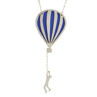hot air balloon necklace silver