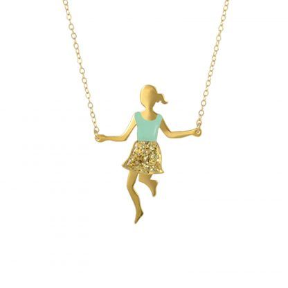 jump rope player glitter skirt gold mint top big