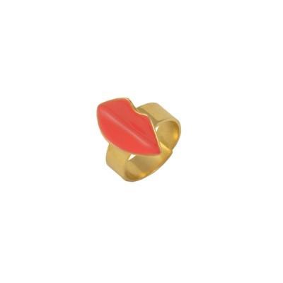 kiss ring coral gold