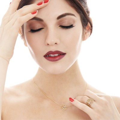 mini scallop necklace gold sapphire worn2
