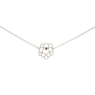 mini scallop short necklace silver ruby