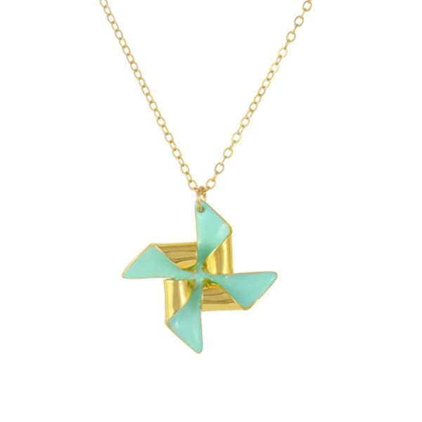 pinwheel necklace gold mint