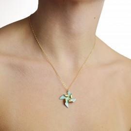pinwheel necklace on model