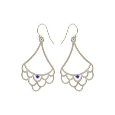 scallop dangling earrings silver sapphire