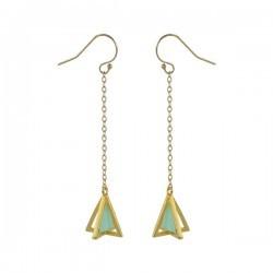 pyramid golden dangling earrings