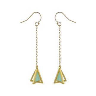 pyramid golden dangling earrings