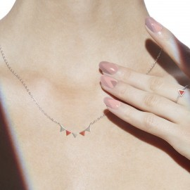 bunting necklace silver coral worn