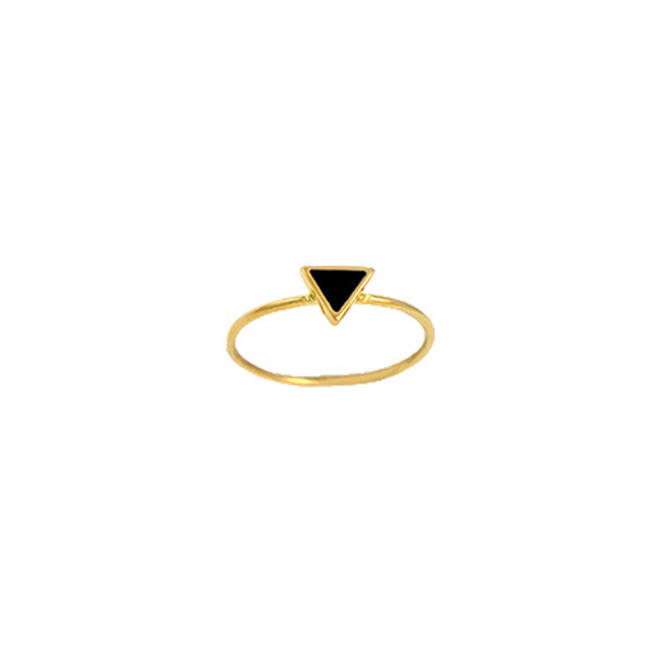 framed triangle ring gold blk