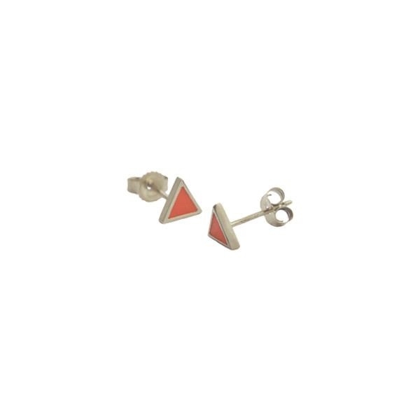 framed triangle studs silver coral