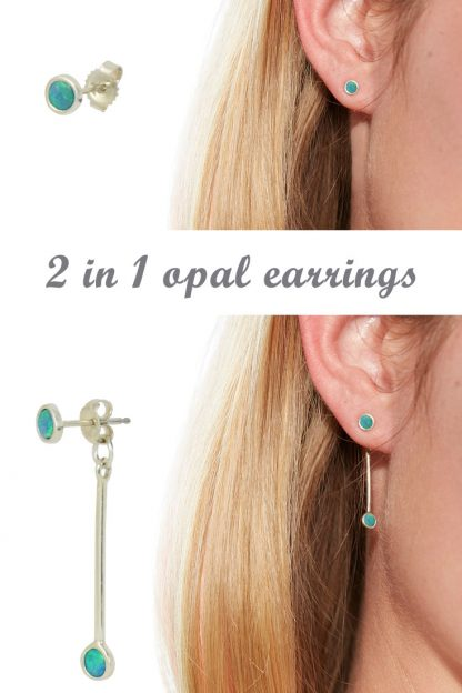 2 in 1 opal earrings