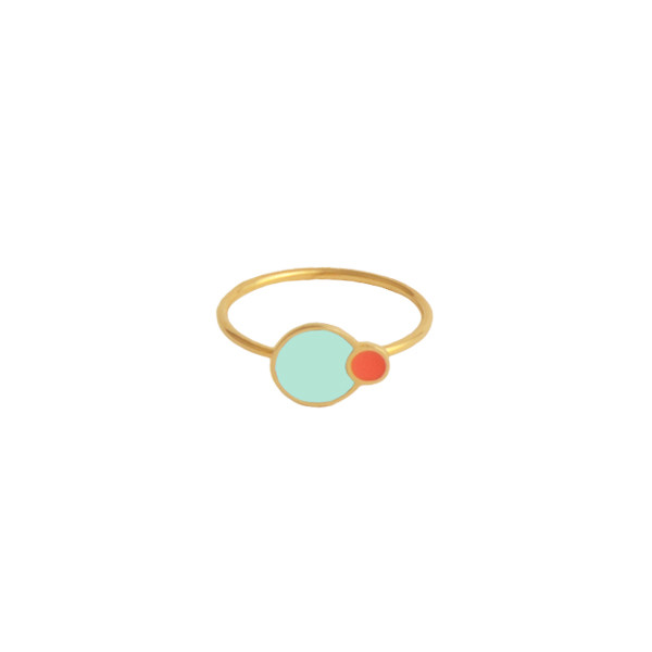 mint and coral eclipse ring gold