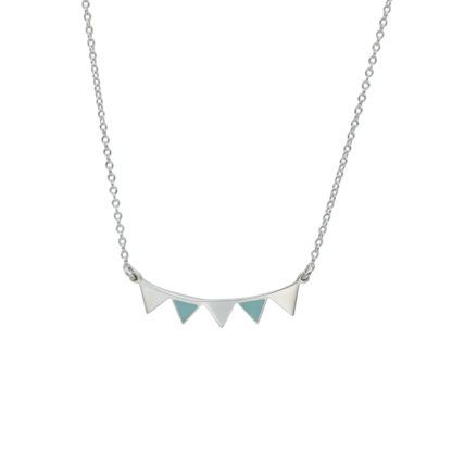 garland necklace sterling silver and mint green enamel