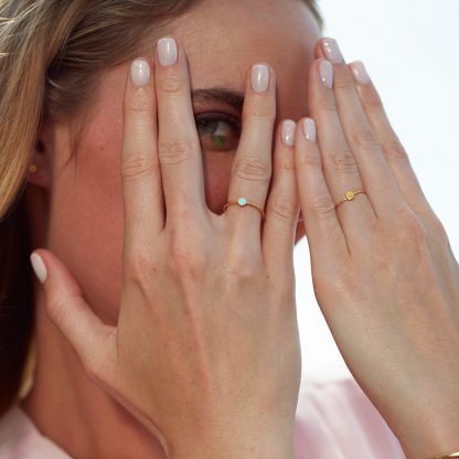 plain gold confetti ring worn