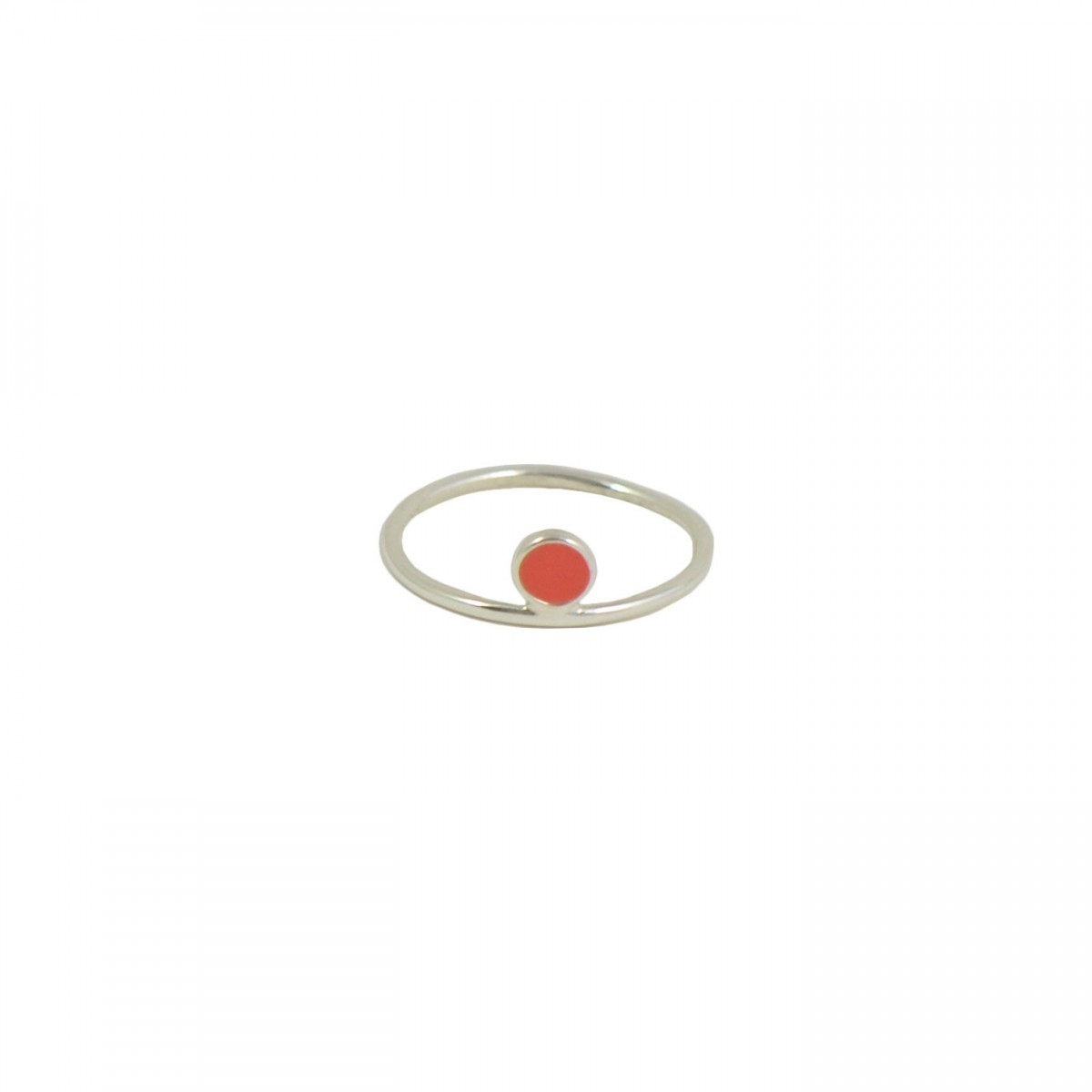 silver and coral celeste ring