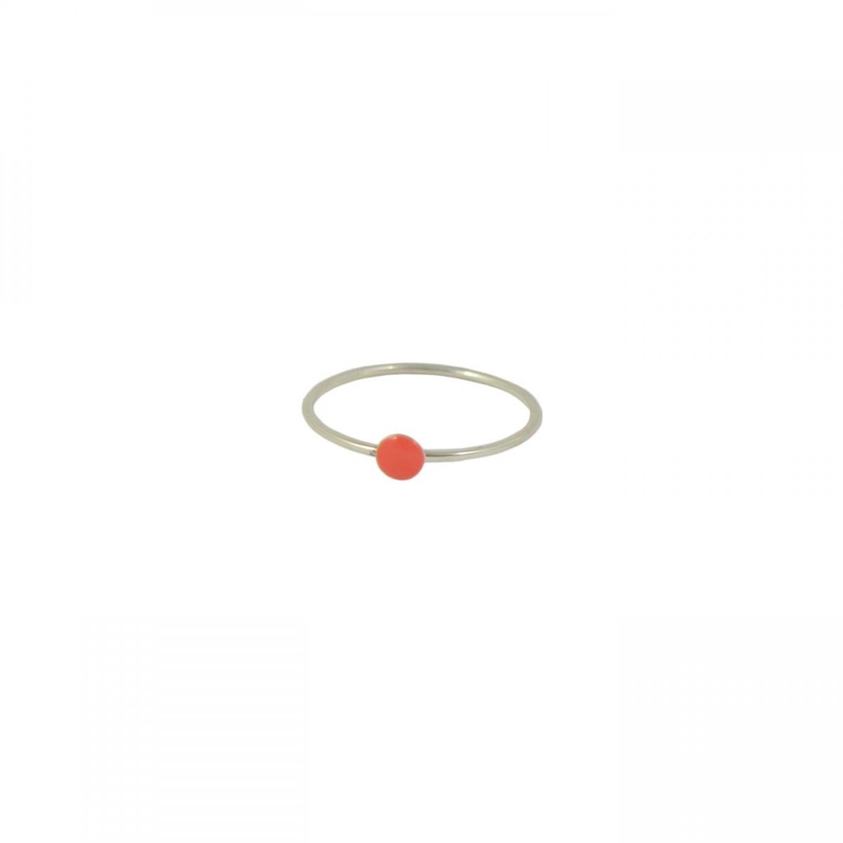 silver and coral confetti ring