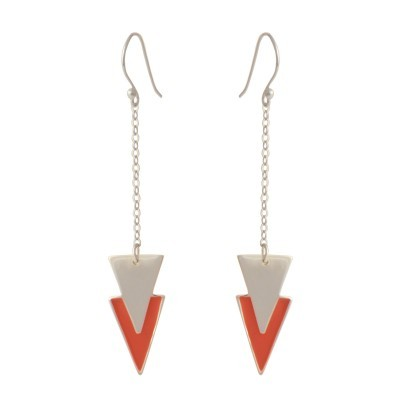 double triangle earrings silver coral