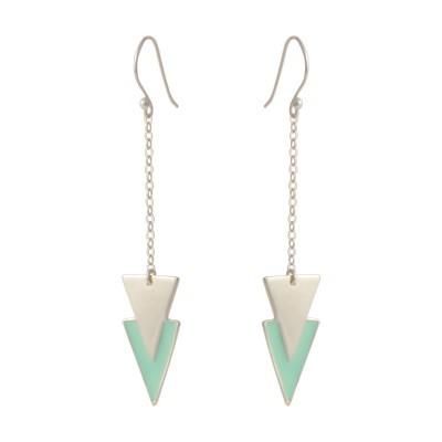double triangle earrings silver mint