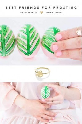 Best friend for frosting DIY Palm Leaf easter egg, wearing a monstera ring by Virginie Millefiori