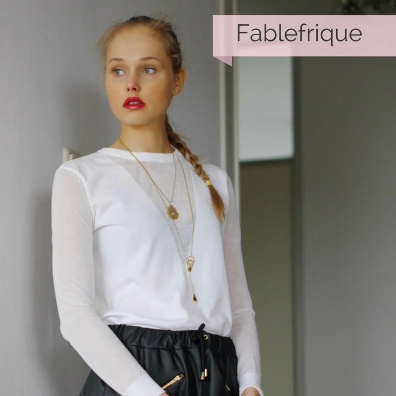 Fablefrique wearing electric love necklace