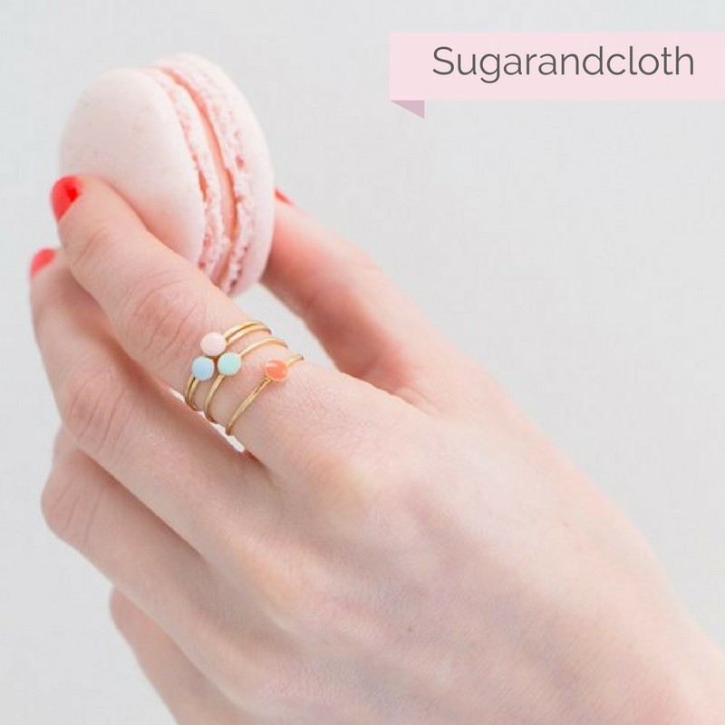 Ashley from Sugarandcloth wearing Virginie Millefiori confetti rings