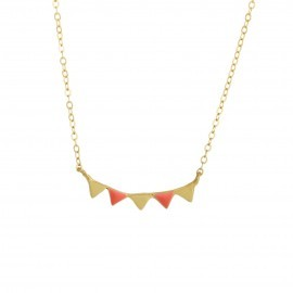 bunting necklace gold coral