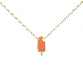 coral gold popsicle necklace