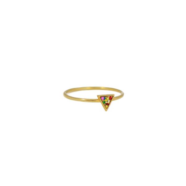 framed triangle ring gold colorglitt