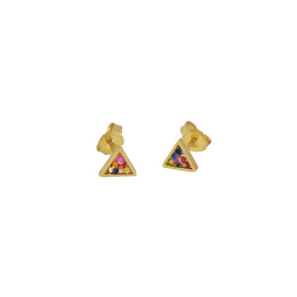 framed triangle studs gold colorglitt
