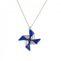 pinwheel necklace silver royal blue