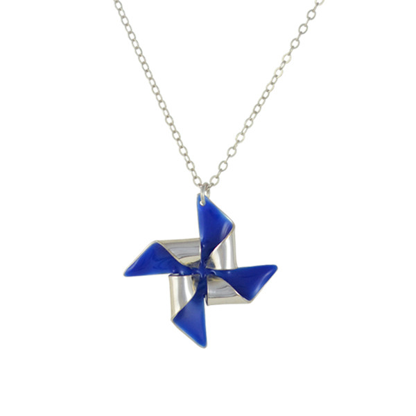 pinwheel necklace silver royal blue