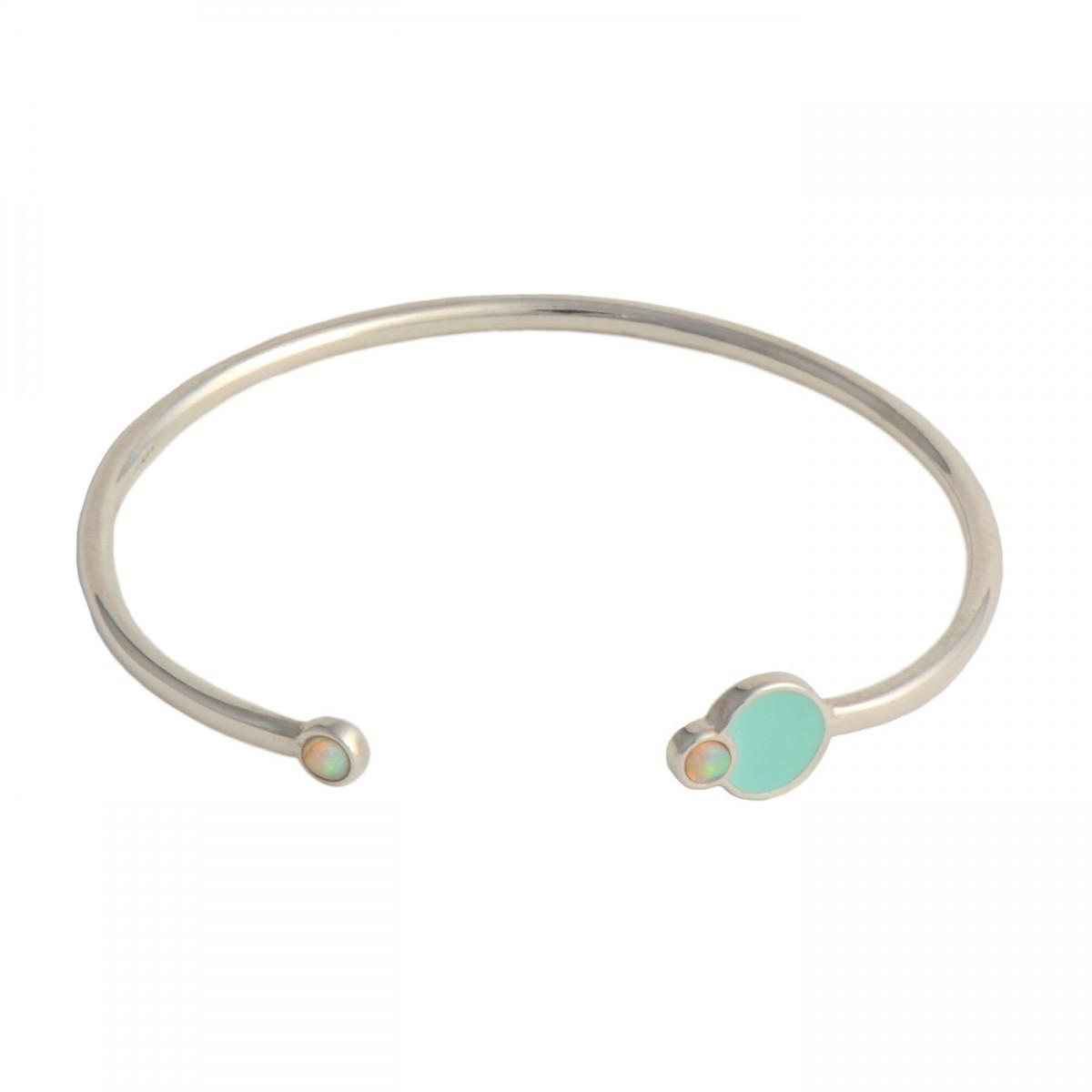 fusion cuff silver mint opals