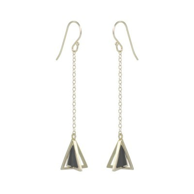 single pyramid earrings silver black