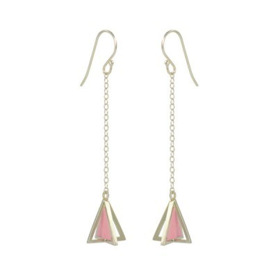 single pyramid earrings silver pink