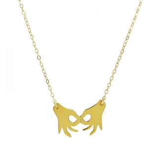 joined hands necklace gold
