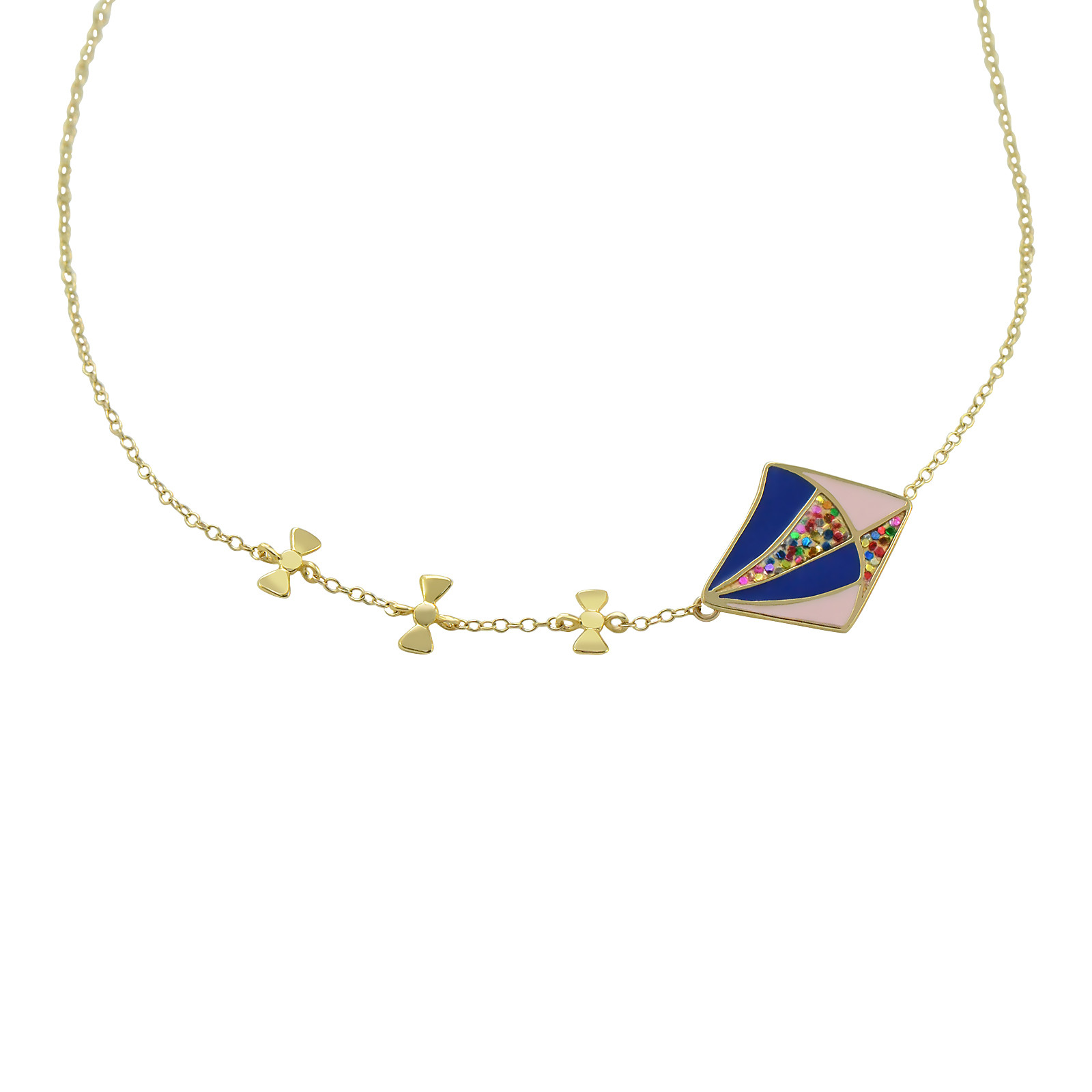 Flutter into summer with this high-spirited Kite necklace that calls back to mind the merriment of childhood memories. Entirely handcrafted, this colorful necklace is enameled with joyful color combinations. Never let go of your playful side!