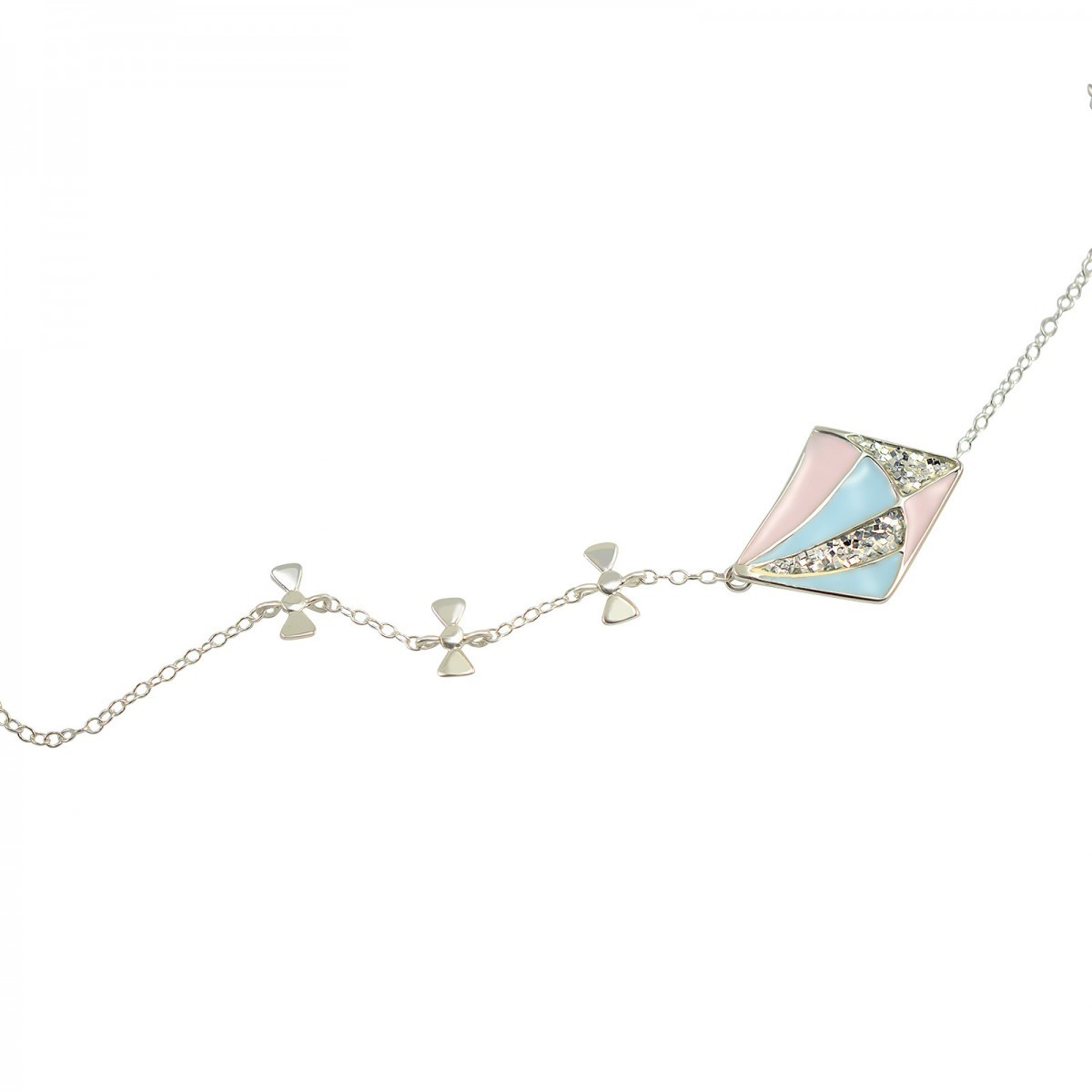 short kite necklace silver