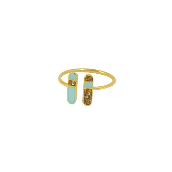 bliss ring gold mint glitter