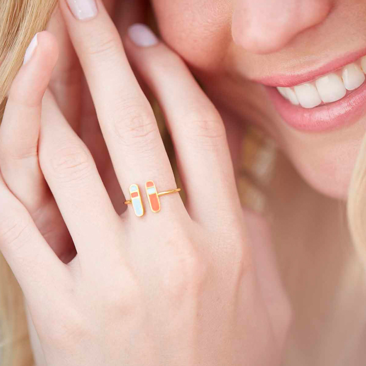 Bliss ring gold coral pastel pink - Virginie Millefiori