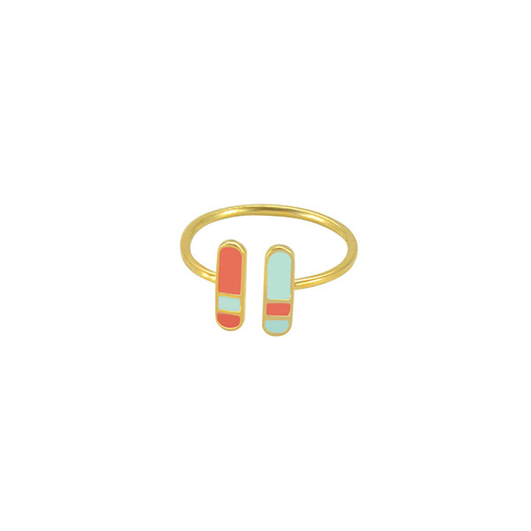bliss adjustable ring gold coral mint green