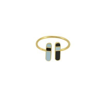 bliss adjustable ring gold pastel blue black