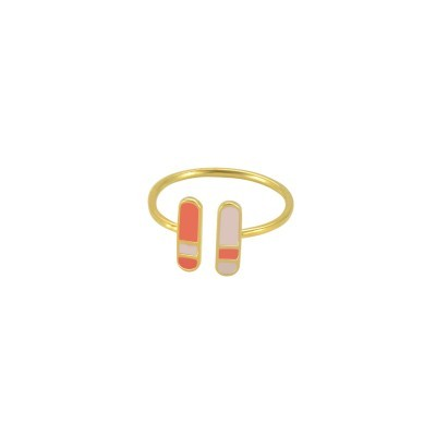 bliss adjustable ring gold pastel pipnk coral