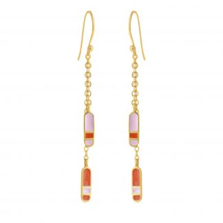 bliss double dangling gold earrings coral pastel pink